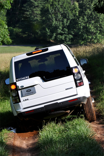 Land Rover on muddy trail