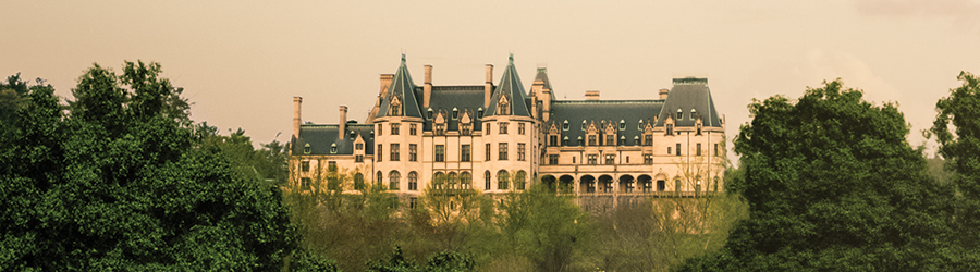 west view of the back of Biltmore House seen from the Lagoon