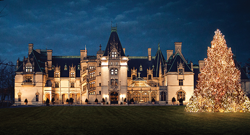 biltmore house at night lit up with lit tree on front lawn
