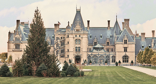 biltmore house at christmas during day