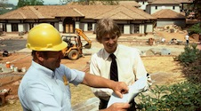 Mr. Vanderbilt talking to a construction worker about the winery