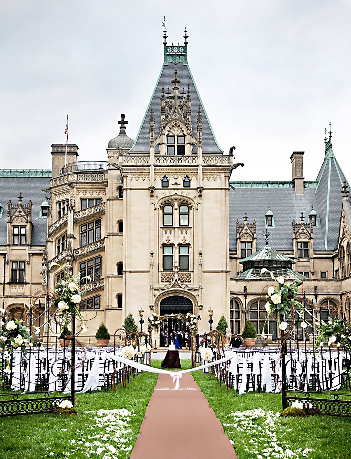Wedding set up in front of Biltmore House