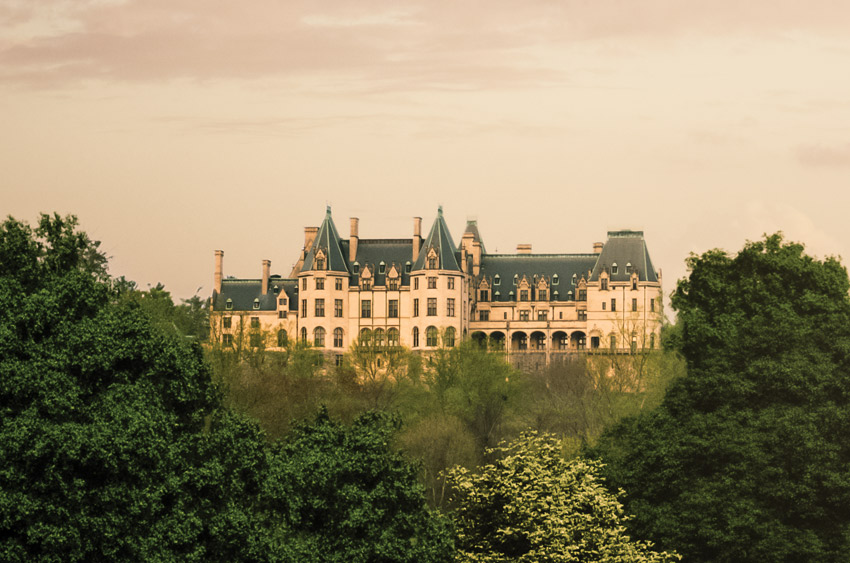 view of biltmore house from lagoon