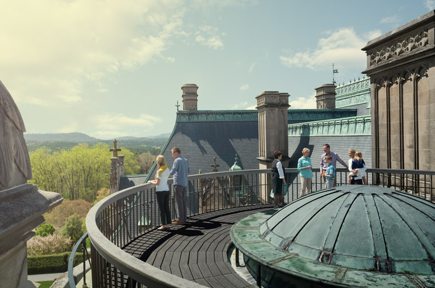 up on biltmore house roof during rooftop tour