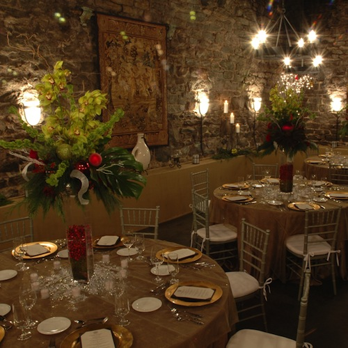 Table setting for an event at the Champagne Celler
