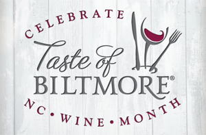 Taste of Biltmore logo featuring a glass of wine with a fork and knife on a woodgrain background