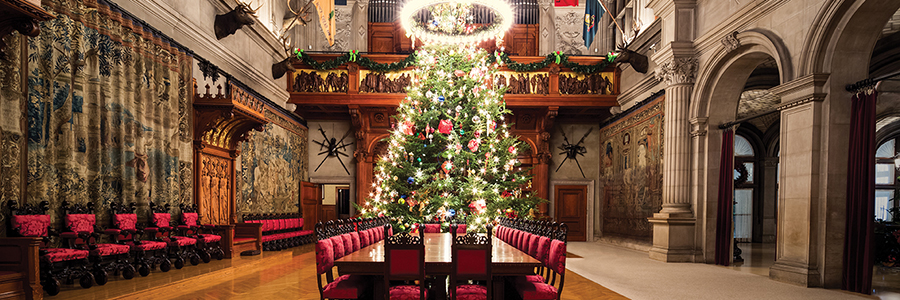 banquet hall christmas tree sparkles below a candelabra - Professional Christmas Decorators Cost