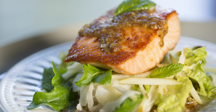 Slow-Roasted Salmon with Curry Mustard and Apple Fennel Salad
