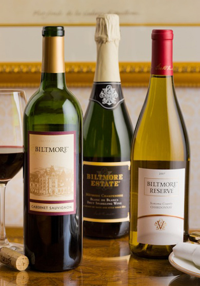 Three bottles of Biltmore wine
