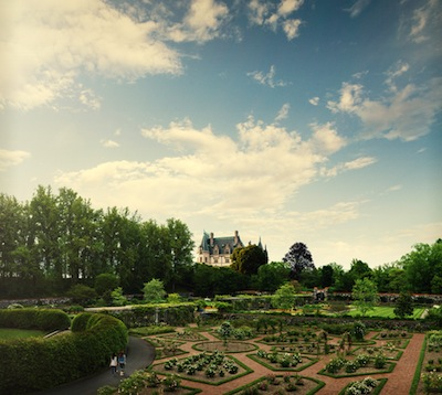 Gardens with view of Biltmore House