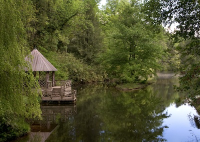 pond with boat house