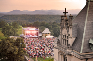 aerial view of summer concert on south terrace of biltmore house