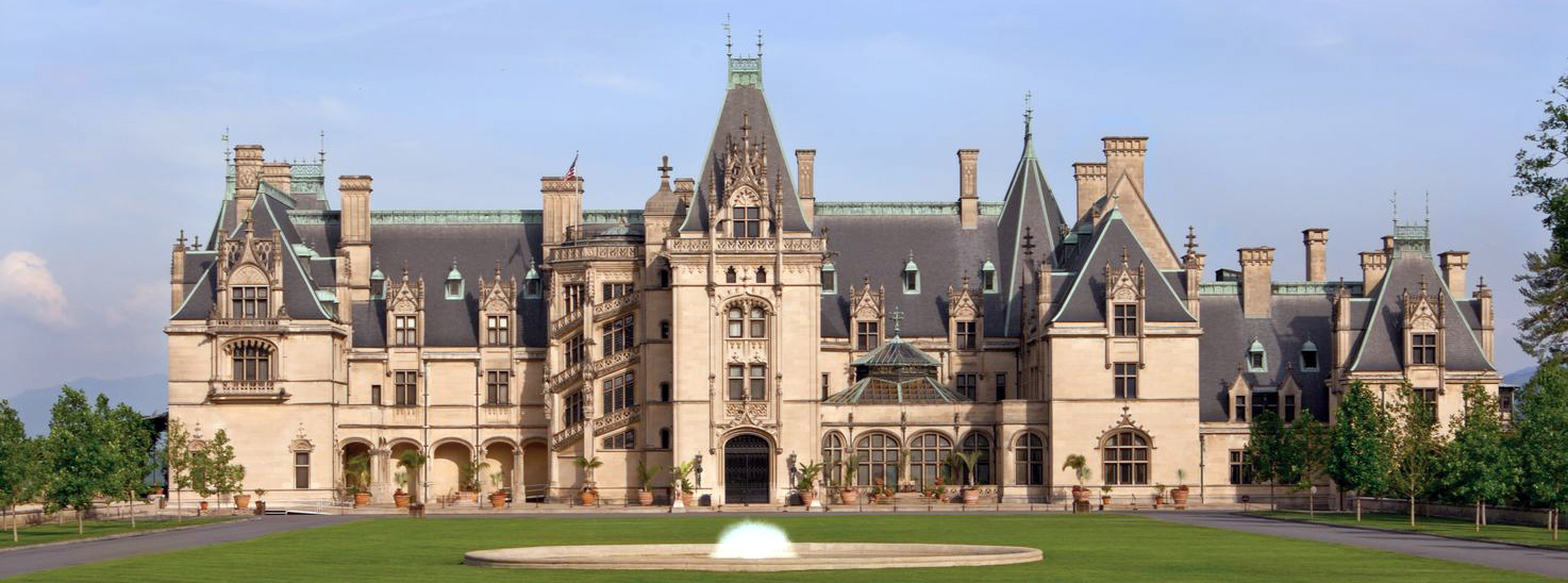 View of front of Biltmore House from front lawn.