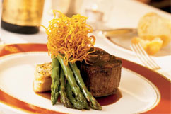 Plate with steak and asparagus