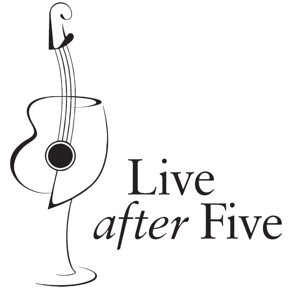 Live After Five Logo line drawing of half guitar-half wineglass