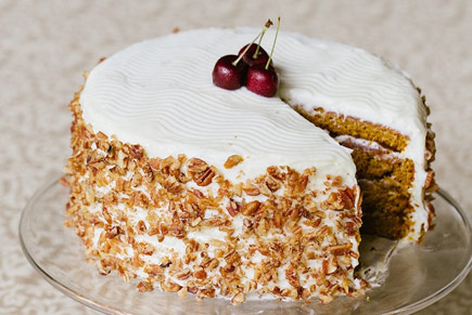 Pumpkin Pecan Layer Cake with Cream Cheese Frosting
