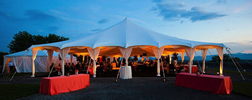 Event tent lit up in the evening