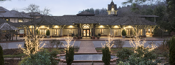 Biltmore Winery decorated with christmas greenery and sparkling lights