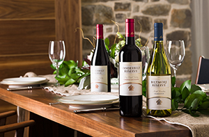 dining table with biltmore wines and place settings
