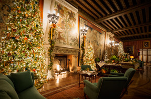 view of fireplace inside biltmore house with candlelight and sparkling lights on tree