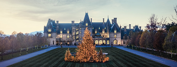 front of biltmore house at dusk with lots of white holiday lights
