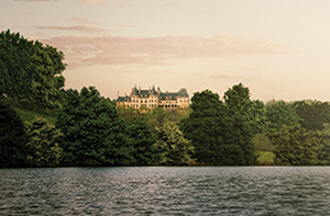 September view of biltmore house with the Lagoon in the foreground