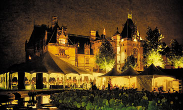 Event at Biltmore lit up at night