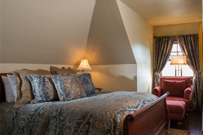 one of two exquisitely furnished bedrooms on the 2nd floor of the Cottage