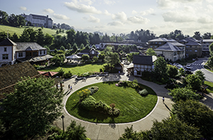 Antler Hill Village with Village green centered and Village Hotel in background