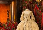 """The wedding costume worn by Helena Bonham Carter in 1994's """"Mary Shelley's Frankenstein"""" was a two-piece dress, comprising gown and a cream moiré silk petticoat. The attached stomacher and front skirt borders of cream satin were embroidered in metallic thread and pale silks."""