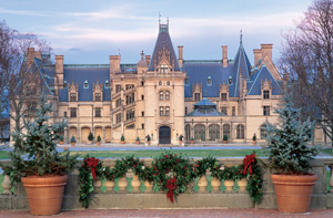 Biltmore House seen from outside with evergreen wreaths and swags