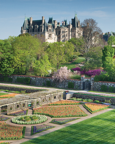 Biltmore House seen from the Walled Garden in full spring bloom