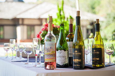 a selection of wines outdoors