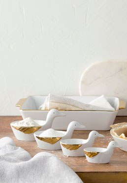 Gilded Ceramic Bakeware Collection