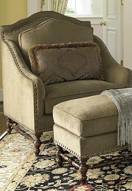 Chair with Scalloped Top and Ottoman