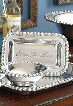 Beaded Silver Tray