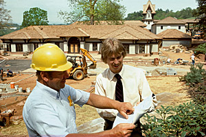 Bill Cecil at the renovation site, early 1980s