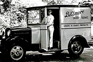 Biltmore Dairy milkman and delivery truck, 1930-1940s