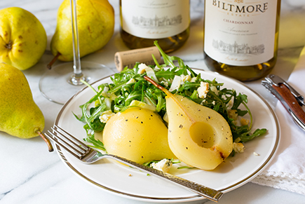 Arugula and Endive Salad with Vanilla Roasted Pears and Bleu Cheese