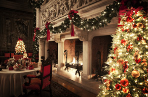 Fireplace in Biltmore House surrounded by cheerfully decorated trees and garland