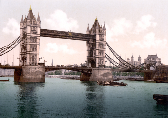 Colorized photograph of Tower Bridge, ca. 1900