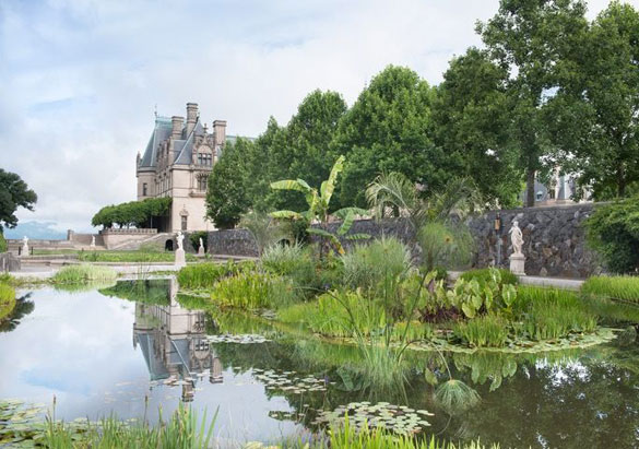 Biltmore House reflected in the Italian Garden pools