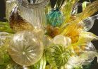 """Dale Chihuly, <i>Citron, Amber, and Teal Chandelier I (detail)</i>, 2009, 59 x 48 x 48"""", © Chihuly Studio"""
