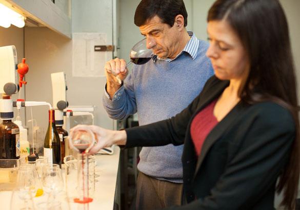 Biltmore winemakers Bernard Delille and Sharon Fenchak crafting wine