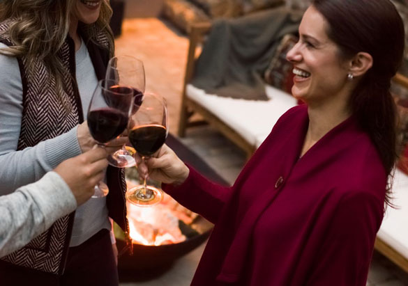 Ladies enjoying a glass of red wine