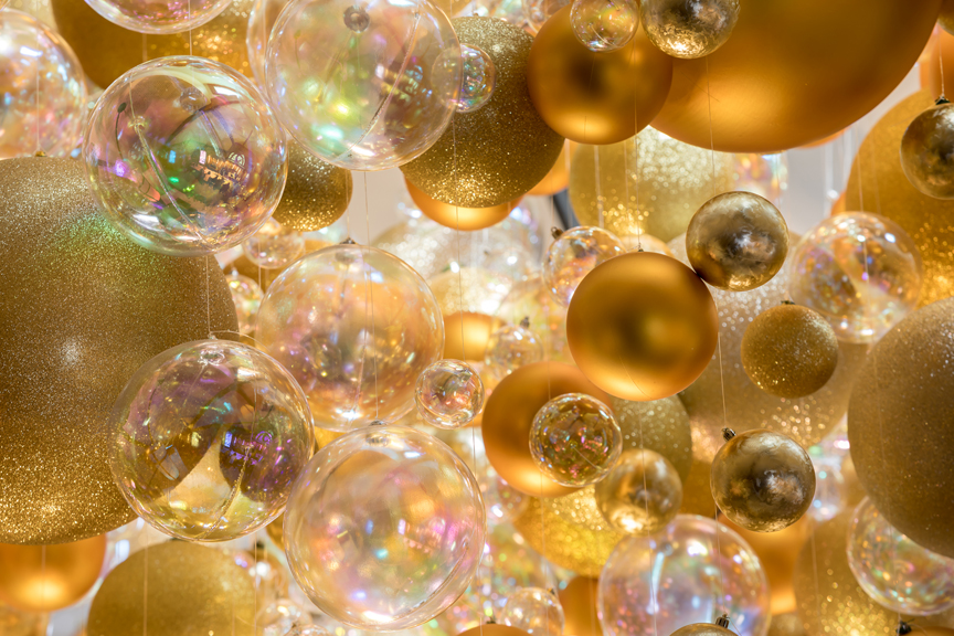 Close-up of bubble decorations