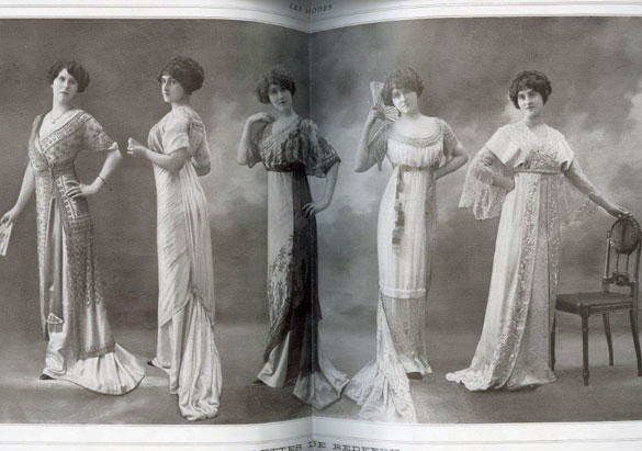 Fashion spread featuring five dresses in the April 1911 issue of Les Modes