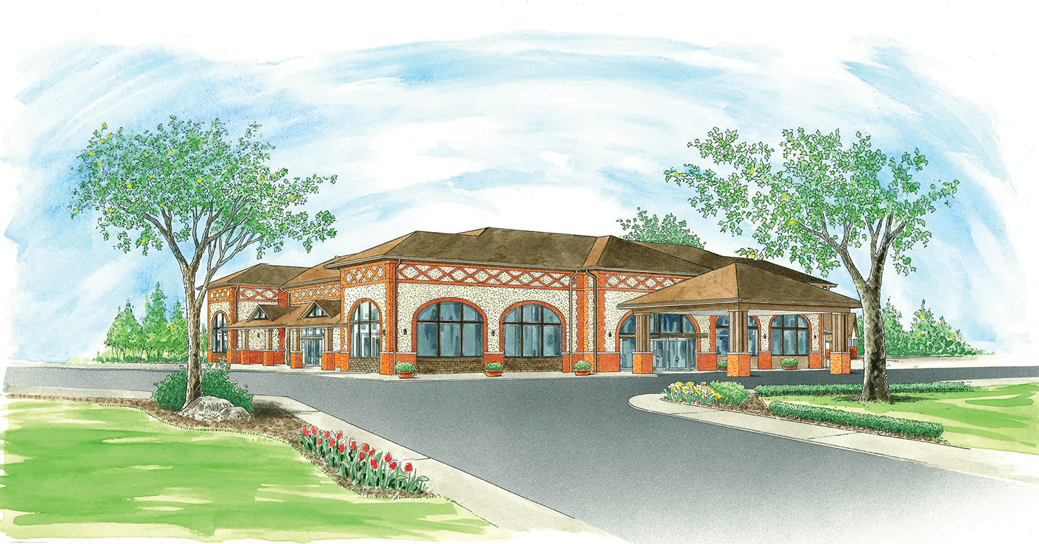 artist's watercolor rendering of the new amherst venue