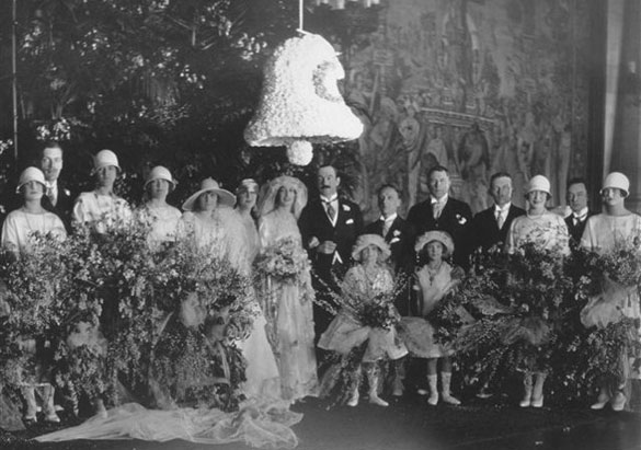 Cornelia and John Cecil's wedding party in the Tapestry Gallery at Biltmore