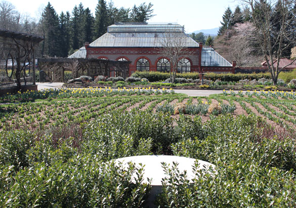 Base for Chihuly sculpture in Walled Garden at Biltmore
